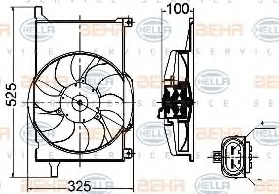 Вентилятор, охлаждение двигателя HELLA 8EW351030471