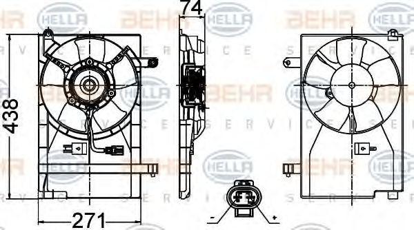Вентилятор, охлаждение двигателя HELLA 8EW351030481