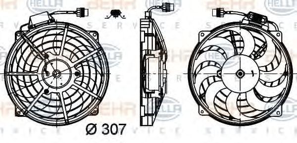 Вентилятор, конденсатор кондиционера HELLA 8EW351030491