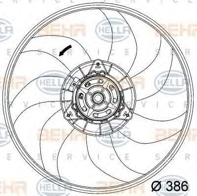 Вентилятор, охлаждение двигателя HELLA 8EW351034281