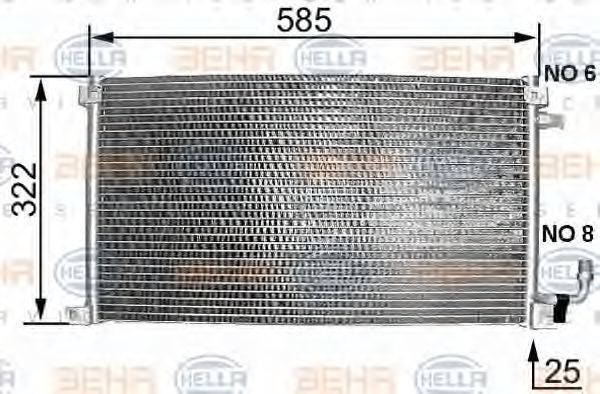 Радиатор кондиционера HELLA 8FC 351 038-221