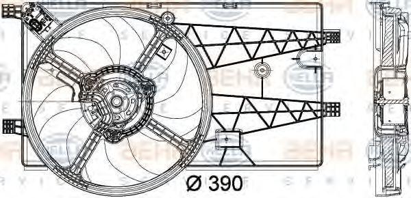 Вентилятор, охлаждение двигателя HELLA 8EW351040311