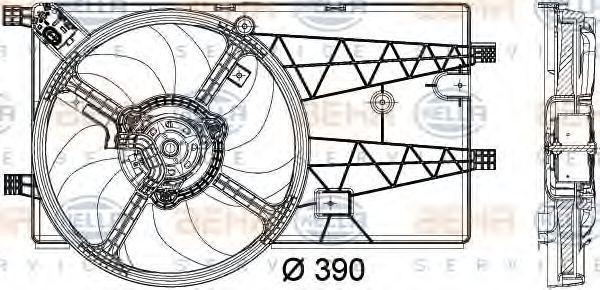 Вентилятор, охлаждение двигателя HELLA 8EW351040321