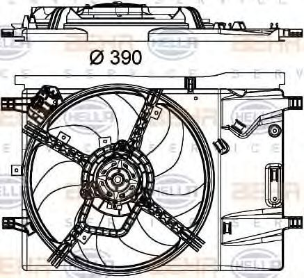 Вентилятор, охлаждение двигателя HELLA 8EW351040331
