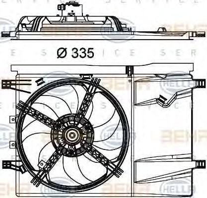 Вентилятор, охлаждение двигателя HELLA 8EW351040341