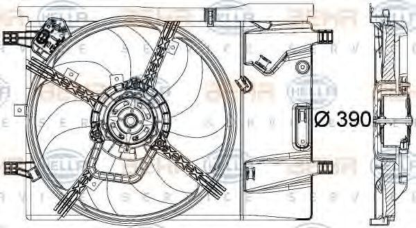 Вентилятор, охлаждение двигателя HELLA 8EW351040351