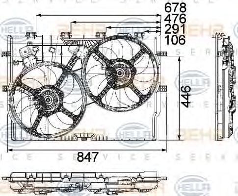 Вентилятор, охлаждение двигателя HELLA 8EW351040611