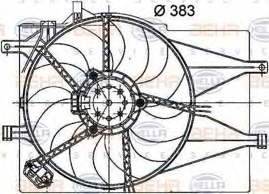 Вентилятор, охлаждение двигателя HELLA 8EW351040741