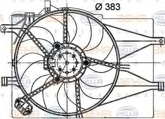 Вентилятор, охлаждение двигателя HELLA 8EW351040751