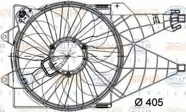 Вентилятор, охлаждение двигателя HELLA 8EW351040771