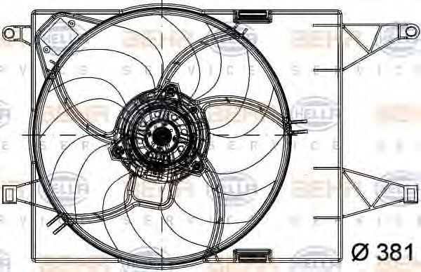 Вентилятор, охлаждение двигателя HELLA 8EW351040791
