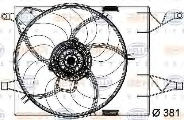 Вентилятор, охлаждение двигателя HELLA 8EW351041031