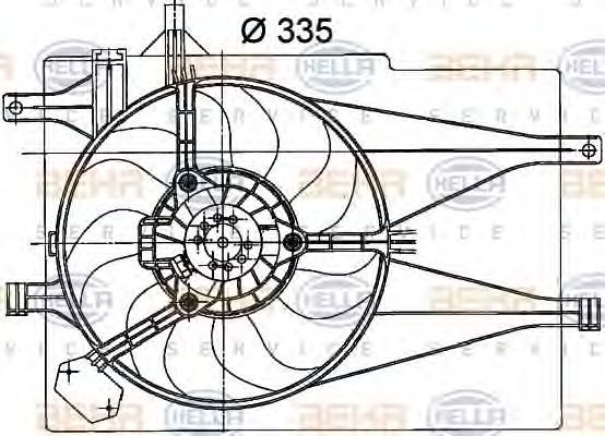 Вентилятор, охлаждение двигателя HELLA 8EW351041051