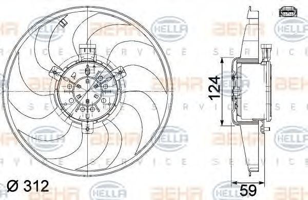 Вентилятор, охлаждение двигателя HELLA 8EW351041261