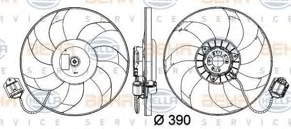 Вентилятор, охлаждение двигателя HELLA 8EW351041461