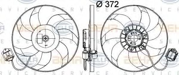 Вентилятор, охлаждение двигателя HELLA 8EW351041491