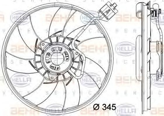 Вентилятор, охлаждение двигателя HELLA 8EW351041791