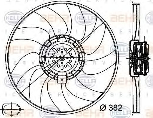 Вентилятор, охлаждение двигателя HELLA 8EW351044351