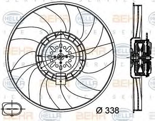 Вентилятор, охлаждение двигателя HELLA 8EW351044361