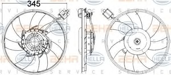 Вентилятор, охлаждение двигателя HELLA 8EW351104481