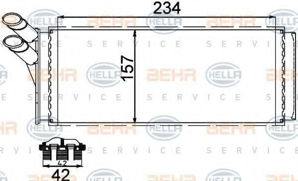 Радиатор отопителя салона HELLA 8FH351311421