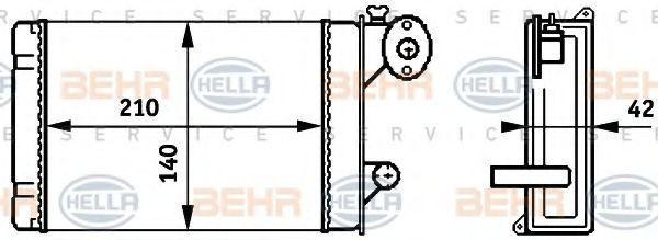 Радиатор отопителя салона HELLA 8FH 351 313-341