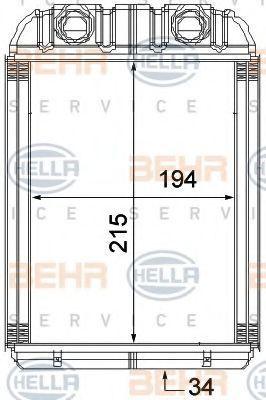 Теплообменник, отопление салона HELLA 8FH351315351