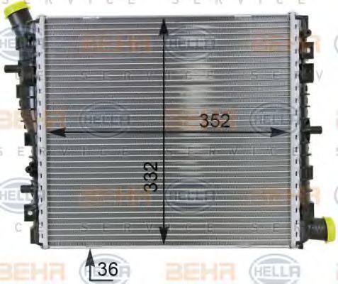 Радиатор, охлаждение двигателя HELLA 8MK376701261