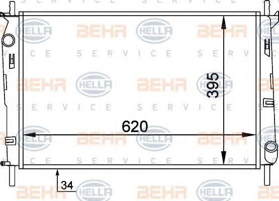 Радиатор, охлаждение двигателя HELLA 8MK376706631