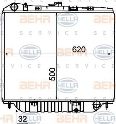 Радиатор, охлаждение двигателя HELLA 8MK376708661
