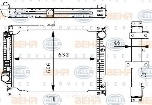 Радиатор, охлаждение двигателя HELLA 8MK376709321