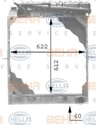 Радиатор, охлаждение двигателя HELLA 8MK376709401