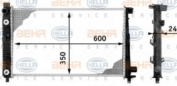 Радиатор, охлаждение двигателя HELLA 8MK376713051