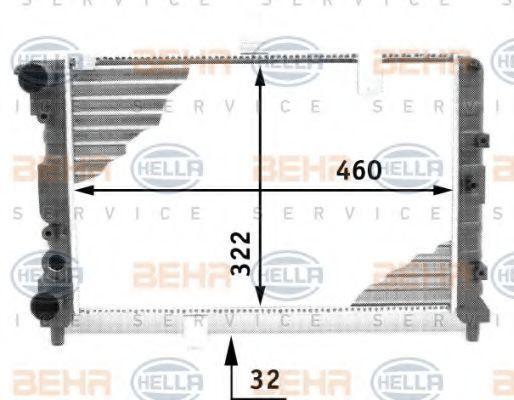 Радиатор, охлаждение двигателя HELLA 8MK376713481