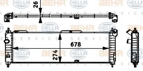 Радиатор, охлаждение двигателя HELLA 8MK376713574