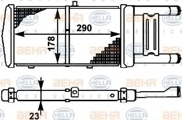 Радиатор, охлаждение двигателя HELLA 8MK376714531