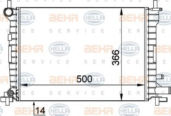 Радиатор, охлаждение двигателя HELLA 8MK376715621