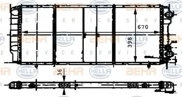 Радиатор, охлаждение двигателя HELLA 8MK376716571