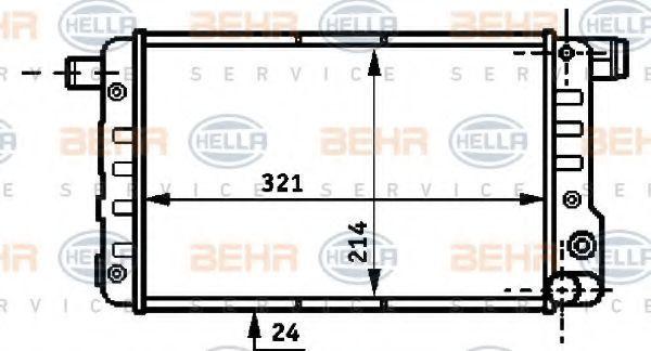 Радиатор, охлаждение двигателя HELLA 8MK376717051