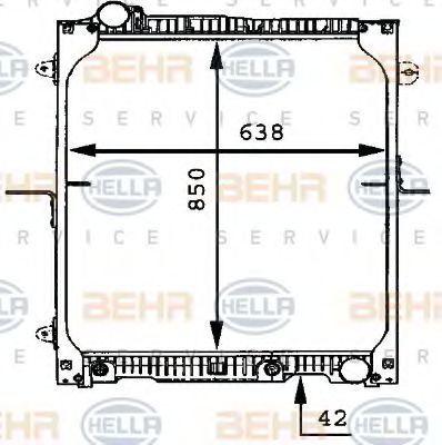 Радиатор, охлаждение двигателя HELLA 8MK376721181