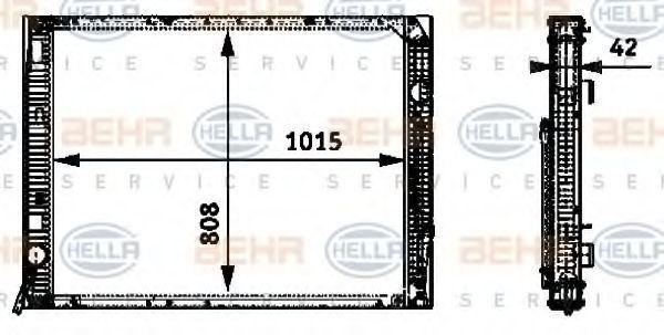 Радиатор, охлаждение двигателя HELLA 8MK376722361
