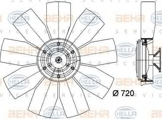 Вентилятор, охлаждение двигателя HELLA 8MV376727071