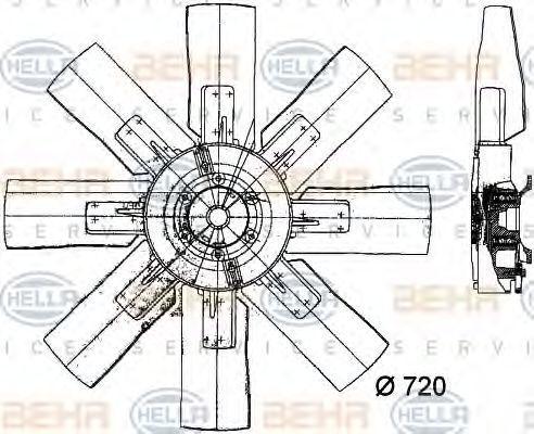 Вентилятор, охлаждение двигателя HELLA 8MV376728091