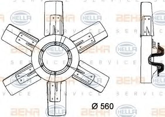 Вентилятор, охлаждение двигателя HELLA 8MV376730251