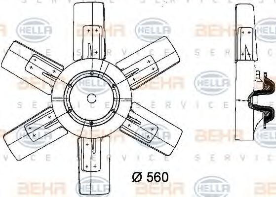 Вентилятор, охлаждение двигателя HELLA 8MV376730751