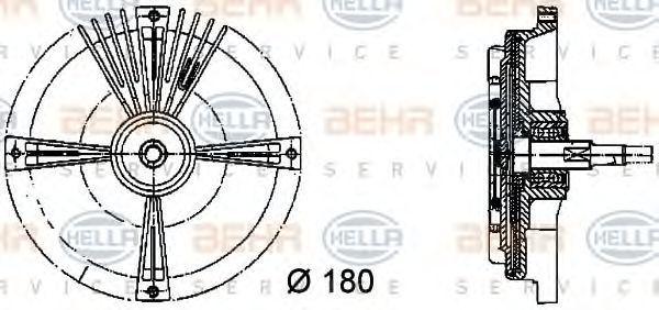 Сцепление, вентилятор радиатора HELLA 8MV376731111