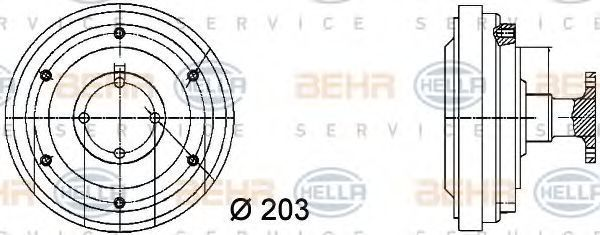 Вискомуфта HELLA 8MV376731361