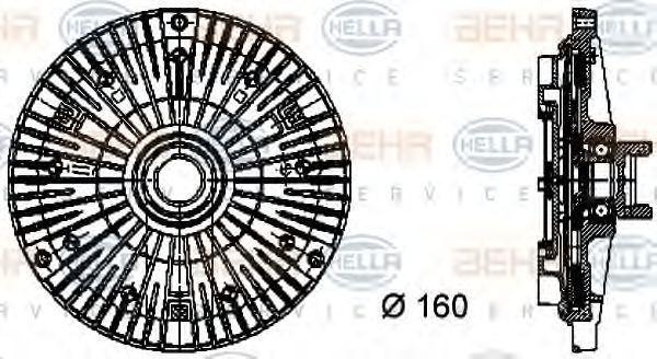 Сцепление, вентилятор радиатора HELLA 8MV376732091
