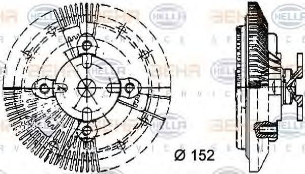 Сцепление, вентилятор радиатора HELLA 8MV376732121