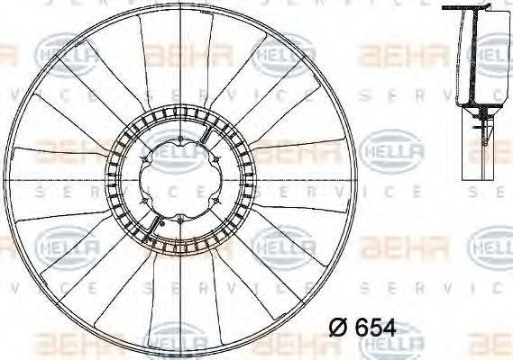 Крыльчатка вентилятора, охлаждение двигателя HELLA 8MV376733101